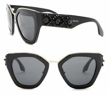 PRADA ORNATE Women Sunglasses SPR 10T Shiny Black with Beads Grey Lenses PR10TS