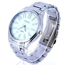 Rosra Big 44mm Steel link strap Analog Quartz Wrist watch with numbers Silver