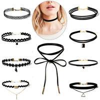 10Pc/set Punk Black Classic Velvet Stretch Gothic Tattoo Choker Necklace Jewelry