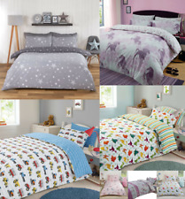 Children's Kids Girls Boys Single Duvet Quilt Cover Bedding Sets Unicorn Dino
