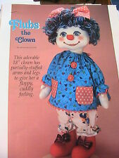 "FLUBS THE CLOWN~Becky McGovern RARE 18"" whimsical cloth art doll pattern 2002"