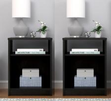 Nightstand Open Shelf Set of 2 End Table Bedroom Bedside Storage Organizer Cubby