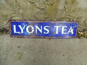 ANTIQUE ORIGINAL ENAMEL LYONS TEA ADVERTISING SIGN