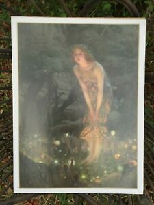 Vintage Art Nouveau Young Woman Fireflies Fairies in evening Forest Poster Print