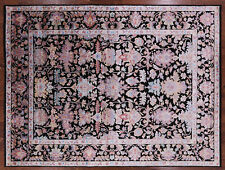 9' X 12' Black Wool & Silk Hand Knotted Rug - P9432
