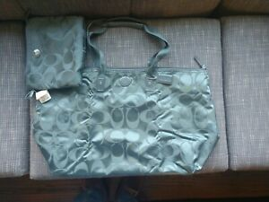 XL Coach F77316 Signature 2pc Nylon Packable Weekender BEAUTIFUL JADE GREEN