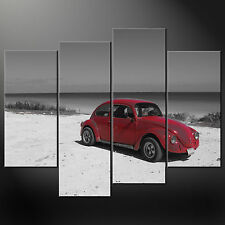 RED VW BEETLE HIGHEST QUALITY CASCADE CANVAS PRINT PICTURE READY TO HANG
