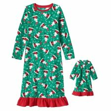 Santa Nightgown Girls 6X Nightgown + 18 in Doll Nightgown Fits American Girl