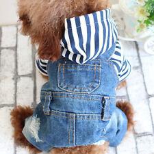 Pet Puppy Blue Braces Denim Jumpsuit Coat Small Dog Cat Jacket Clothes Costume M