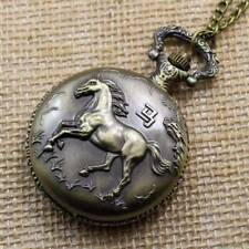 Wild Stallion Bronze Engraved Antique Style Pocket Watch Necklace