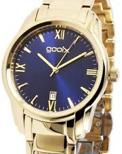 Damen Armbanduhr Blau/Gold Edelstahlarmband Datum DUA05874 von gooix 149,00 UVP