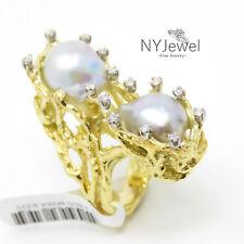 NYJEWEL Brand New 14K Yellow Gold Large Tahitian Pearl 0.35ct Diamond Ring