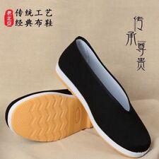 Mens Handmade Chinese Espadrille Slipper Shoes Kung Fu Flat Martial Arts Black
