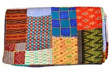 Silk Sari Indian Kantha Quilt Ralli Vintage Bedspread Reversible Patchwork Throw