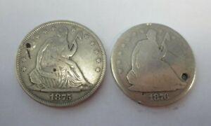 1875-S & 1876-S Seated Liberty Half Dollars (Holed)