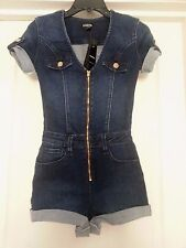 NWT BEBE blue gold zipper front v neck denim jumpsuit romper top shorts S 27