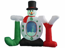 Christmas Air Blown Inflatable Snowman JOY Snowflake Swirl Globe Yard Decoration