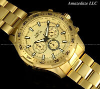 NEW Invicta Men's 48mm SPEEDWAY Chronograph GOLDEN DIAL Stainless Steel Watch !!