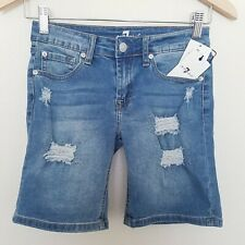 New 7 For All Mankind Denim Shorts Chelsea Girls Youth Size 12 Distressed
