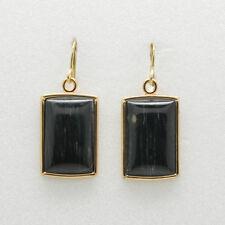 Barse Jewelry Black Green Jade Bronze Earrings