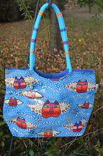 Laurel Burch Angel Cat Faces Tote Bag/Handbag Sequin Accents  #LB 4190