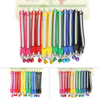 12pcs Set Necklace Dog Collars Pet Cat Puppy Buckle Nylon Collar W/ Bell Dog New