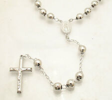 8mm Diamond Cut Rosary Cross Chain Necklace Real Anti-Tarnish Sterling Silver