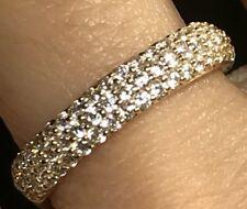 GOLD 14k Wedding Band ring simulated diamond Semi Eternity pave 4mm 2.8g 7 6 8