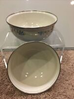 Enamel Metal Nesting Bowls Set of 2 White Flowers Silver Trim