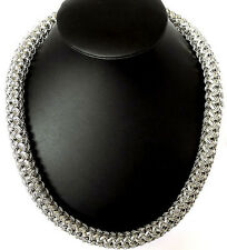 """29"""" BIG WOVEN LINK CHAIN SILVER BRASS HIP HOP NECKLACE"""