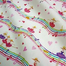 Cream 100% Poplin Fabric with Musical Princess Ballerina Print *Per Metre*