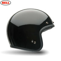 BELL CUSTOM 500 DELUXE GLOSS BLACK MOTORCYCLE CRUISER HELMET + PEAK + VISOR