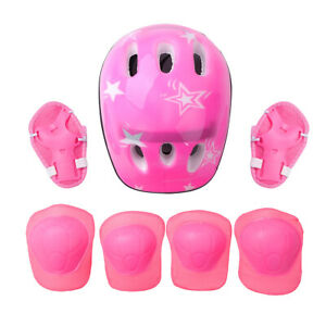 7 Set Kids Sport Protective Gear Safety Helmet Knee Wrist Elbow Pads For Cycling