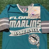 Florida Marlins Jersey Boy 5 6 MLB Baseball Shirt Blue Vintage 90s New NWT Retro