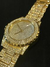 Mens Simulated Diamond Iced Out Rapper 14k Gold Plated Big Face Hip Hop Watch