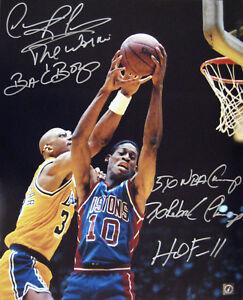 Dennis Rodman Autographed 16x20 Stat Photo vs Abdul Jabbar ASI Proof
