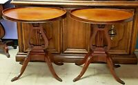 PAIR OF OVAL MAHOGANY SIDE END TABLES WITH LYRE BASES BY MERSMAN C.1940'S