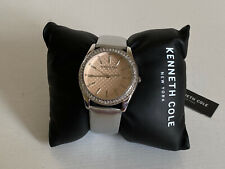 NEW! KENNETH COLE RHINESTONES-ACCENTED SILVER LEATHER STRAP WATCH $95 SALE