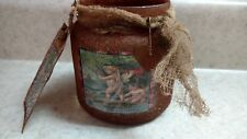 Luminary Candle Jar Cinnamon Hang Tag Rusty Valentine's Day Primitive STPC