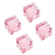 GLASS FACETED SQUARE CUBE BEAD CRYSTAL PINK COLOR 4MM 100 BEADS STRAND GC13