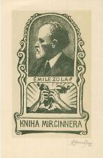 "Ex libris Exlibris ART DECO ""Emile Zola"" by KONUPEK JAN /1883-1950/ Czech"