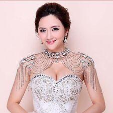 Bridal crystal Rhinestone huge shoulder deco Bra Strap Halter necklace HR238N