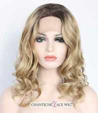 Ombre Dark Roots Medium Long Synthetic Hair Lace Front Wig Blonde Wavy Wigs