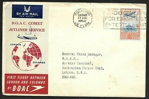 Ceylon BOAC First Flight Comet Jet Cachet Cover Airmail to England 1952