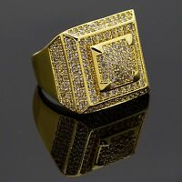 Men HQ 14K Gold Plated Square 3D Dome Middle Hip Hop Ring Sizes 7-12