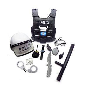 Pretend Police Cosplay Set Boys Helmet Baton Costume Kids Role Play Halloween