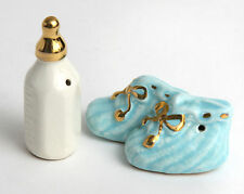 Vtg Arcadia Miniature Salt & Pepper Shaker Go With Set Baby Bottle Booties Mini
