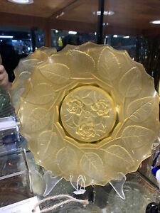 Art Deco Yellow Depression Era Glass Rose Plate by Bagley