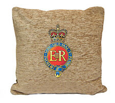 HOUSEHOLD CAVALRY BADGE ON A CREAM CHENILLE CUSHION.INC PADDING.