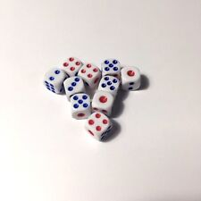 Lot of 10x Mini Dice Blue And Red Colours Great For Board Games!